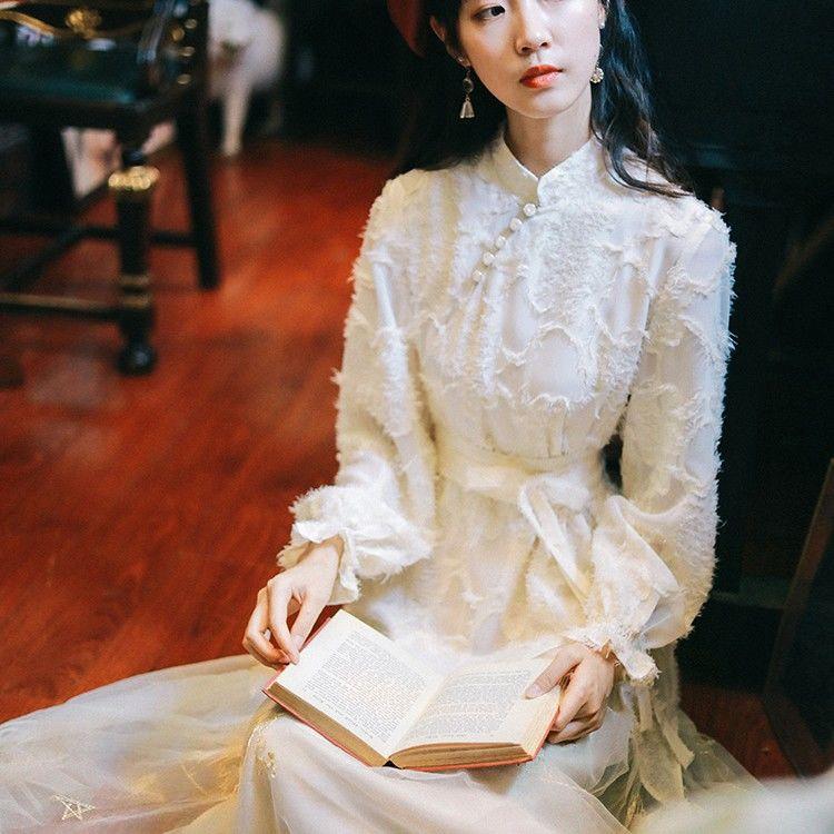 女生洋裝 復古洋裝 長袖洋裝 小清新復古剪花刺繡網紗時尚子仙女超仙森系秋裝年新款新款復古洋裝