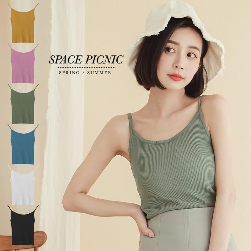 Space Picnic|細針織壓紋彈性細肩背心(現貨)【C20033018】