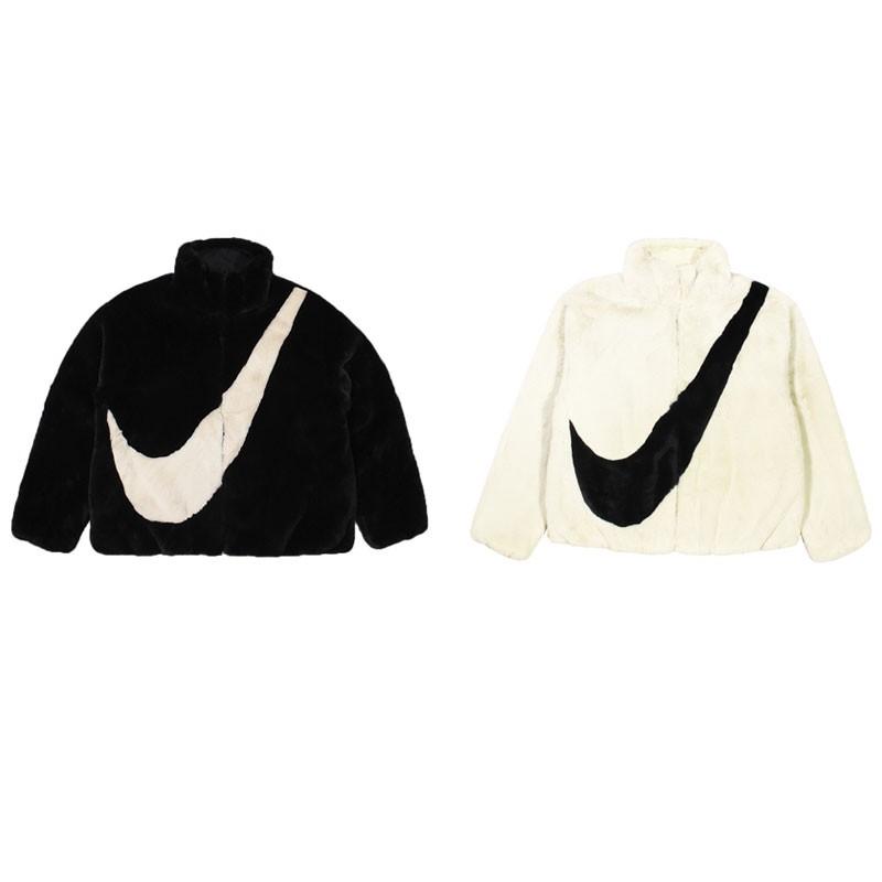 NIKE 女 AS W NSW JKT FAUX FUR 基本款 黑白 刷毛外套-CU6559010/238 廠商直送