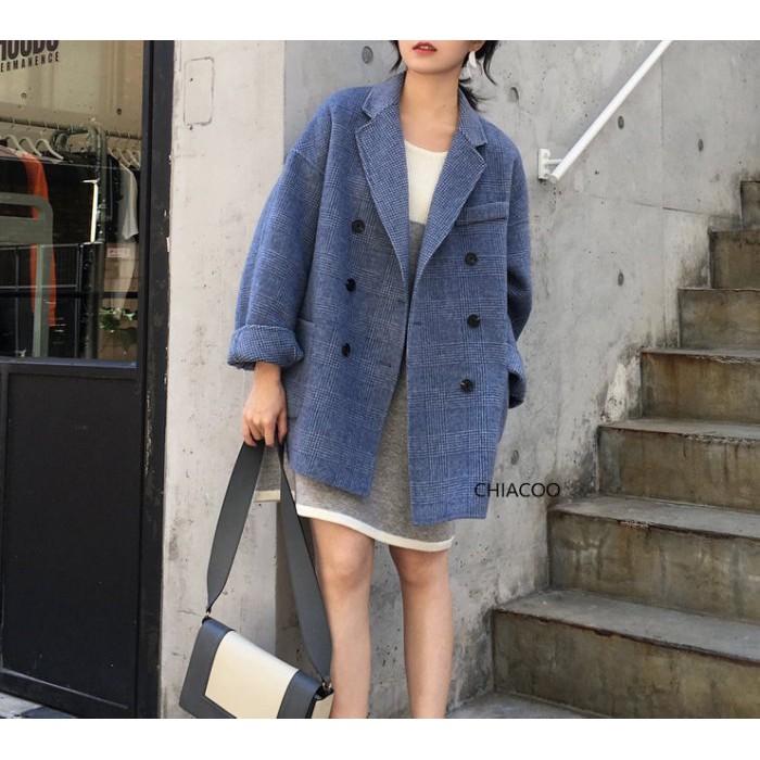 CHIACOO歐美 韓國 復古 格紋 格子 雙面呢料 羊毛呢料 西裝外套 短大衣 羊毛 雙排釦 外套 街拍