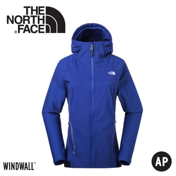 【The North Face 女 WindWall 防風防潑連帽外套《藍》】3CHV/動夾克/風衣/悠遊山水