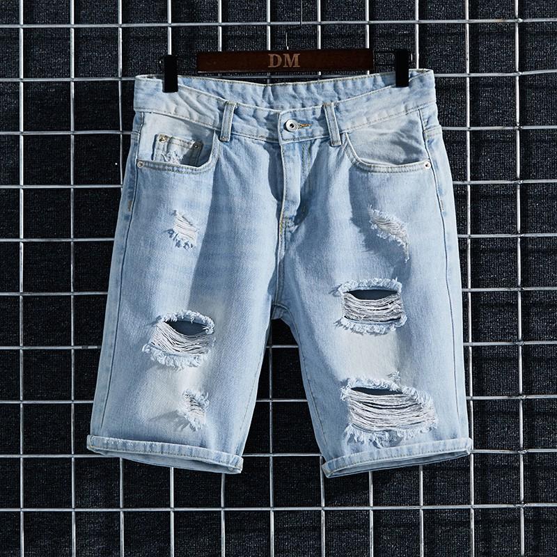#夏季淺藍色牛仔短褲男薄款破洞ins大碼寬松馬褲彈力學生休閑中褲