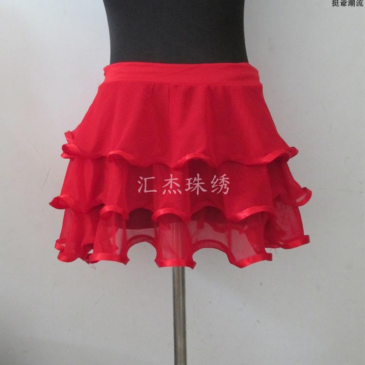 現貨拉丁舞裙新款 拉丁舞蹈服裝 專業練功短裙成人女式一片式系帶腰巾