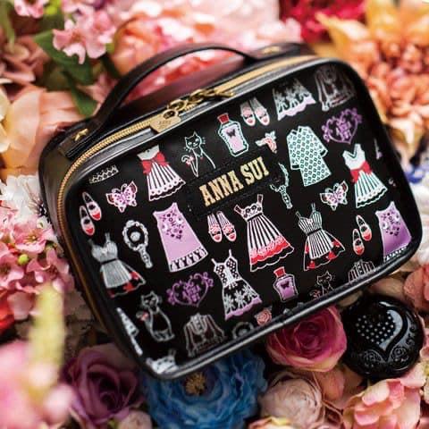 ★JS日雜附錄★ Anna sui 安娜蘇 黑色 經典款 拉鍊 更衣室 化妝包 小物 收納包 萬用包