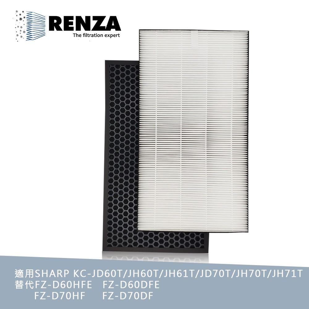RENZA濾網 適用Sharp夏普KC-JH60T-W JH70T JH60 KC-JD60T-W HEPA活性碳 濾芯