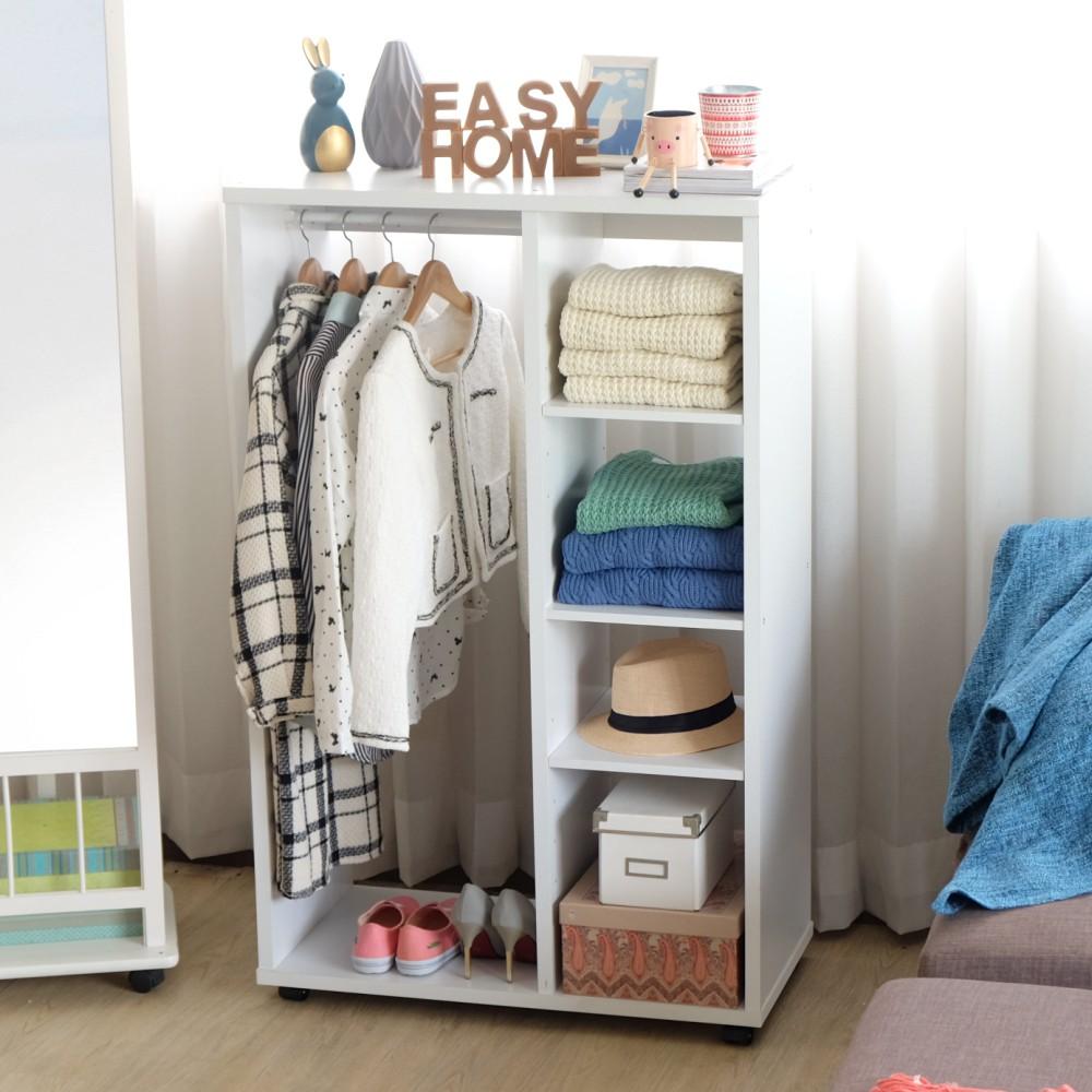 【2824】白色加厚開放式可移動收納衣櫃 送收納箱 收納 衣櫃 衣櫥 收納櫃 大容量