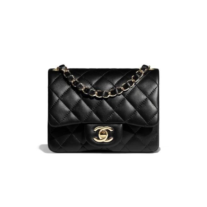 專櫃正品 Chanel Coco Mini17 方胖子 黑色小羊皮 銀鍊 菱格紋 經典款 A35200