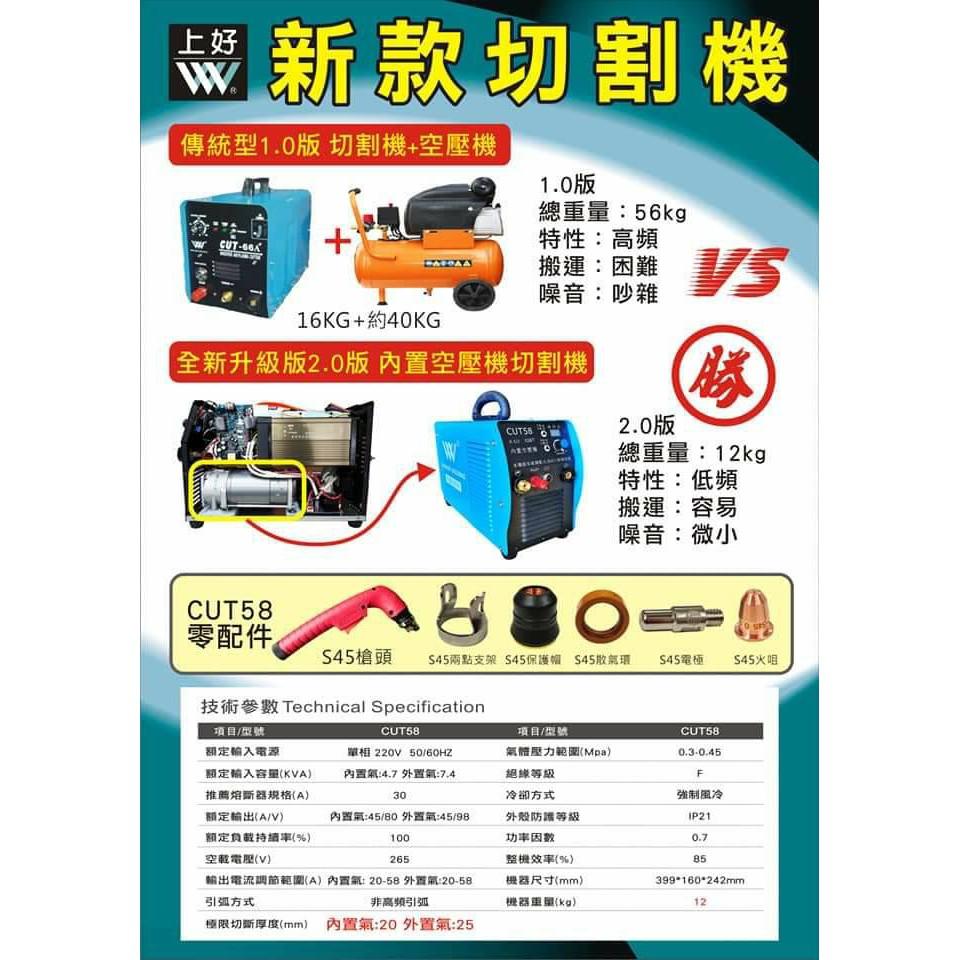 WIN五金 CTU-58台灣製造上好牌內建空壓機電離子切割機 內建空壓機 低頻 離子切割機 電龜 電焊機 氬焊機 免運費