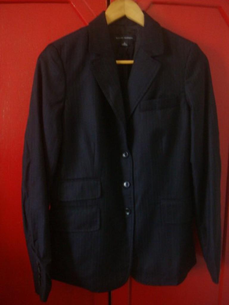 女 ~【BANANA REPUBLIC】黑色細條紋羊毛西裝外套 6號