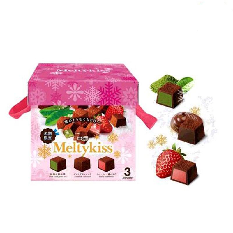 明治 Meltykiss 綜合三種類巧克力 (代可可脂牛奶巧克力/草莓夾餡巧克力/抹茶夾餡巧克力) 40 W121239