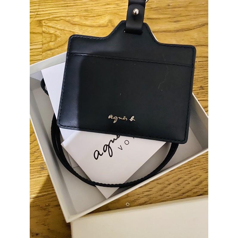 日本代購 agnes b. 小b 最新款  牛皮 防刮 皮革 識別證 吊牌 證件夾 證件套 卡夾 卡套 照片層 附背帶