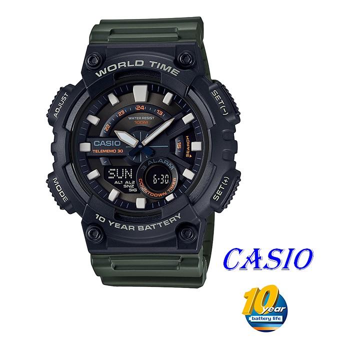 CASIO卡西歐指針與數字雙結合的設計,AEQ-110W運動錶款 AEQ-110W-3A AEQ-200W-9A墨綠X黑