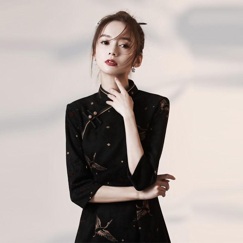 ,春季黑色高端旗袍年輕民國中袖少女改良版中國風連衣裙2021年新款