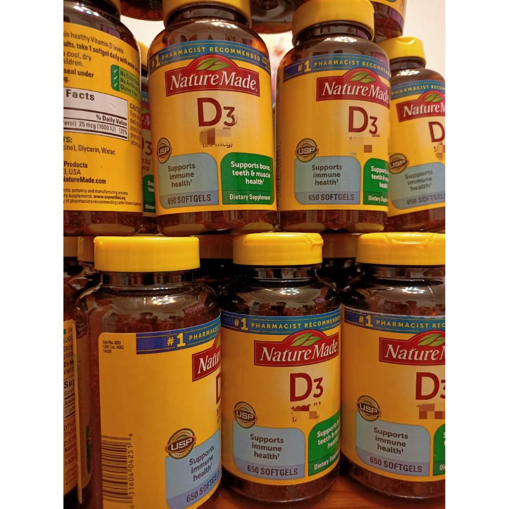 美國代購COSTCO 現貨Nature Made 萊萃美 650顆 Vitamin維他命D3 IU聊聊問