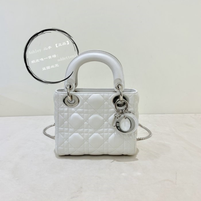 二手正品 Christian Dior Lady Dior 黛妃包 Mini 白色 現貨
