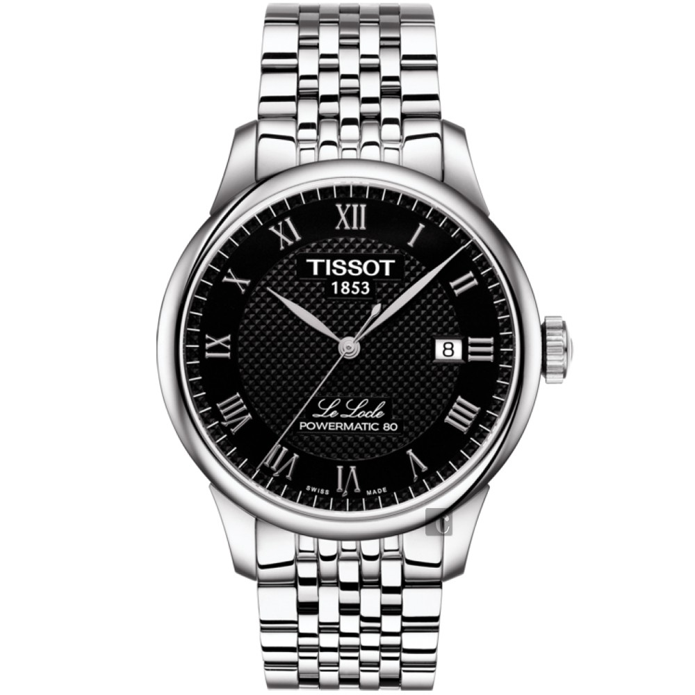 TISSOT天梭 Le Locle 80小時動力儲存機械手錶-黑/39mm  T0064071105300