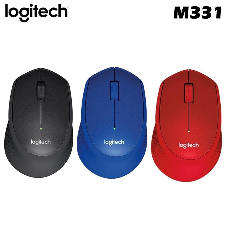 Logitech 羅技 M331 無線滑鼠 靜音 人體工學 迷你接收器 紅 藍 黑