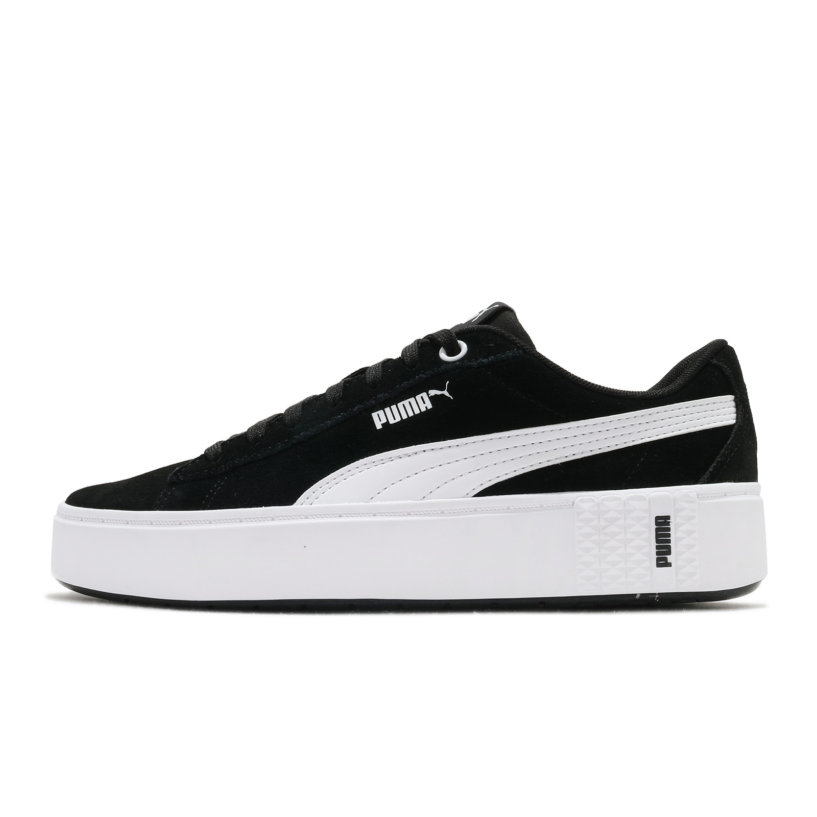 Puma 休閒鞋 Smash Platform V2 SD 黑白 厚底 增高 女鞋 【ACS】 373037-04