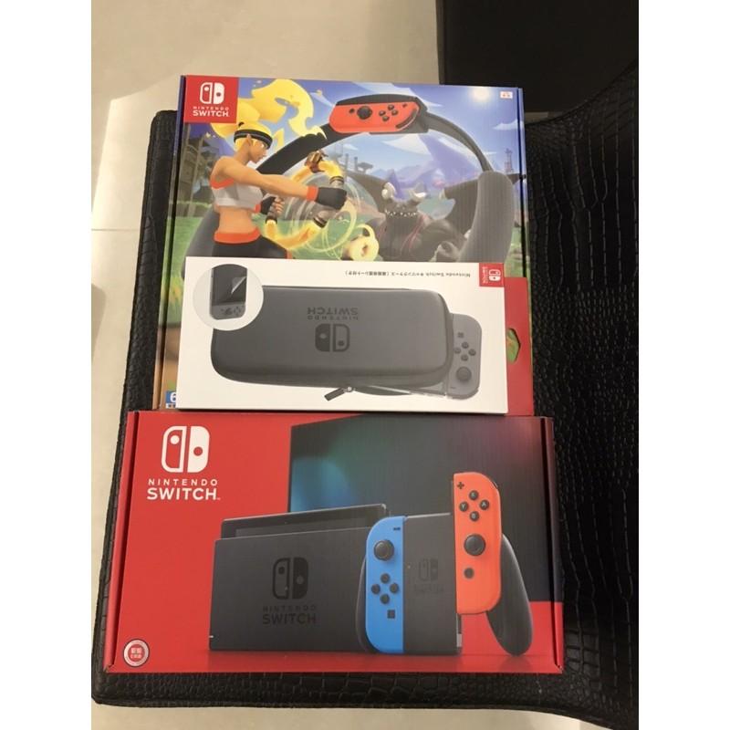 任天堂 Switch 紅藍主機+健身環大冒險+便攜包(玻璃貼)