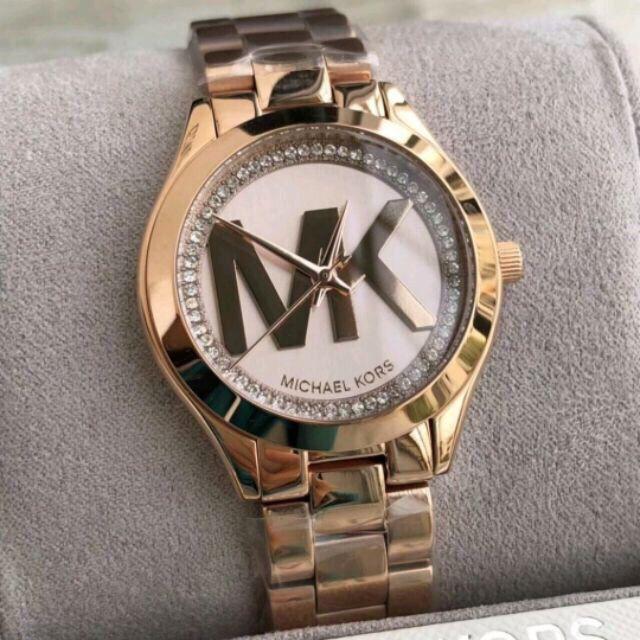 82c74655c283 新款MICHAEL KORS 手錶/MK3549 玫瑰金秀麗晶鑽經典LOGO金色精鋼錶帶腕錶/女錶/32mm | 蝦皮購物