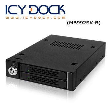 ICY DOCK全金屬雙層式 2.5 SATA SSD/HDD 轉一3.5裝置空間 硬碟抽取盒 MB992SK-B