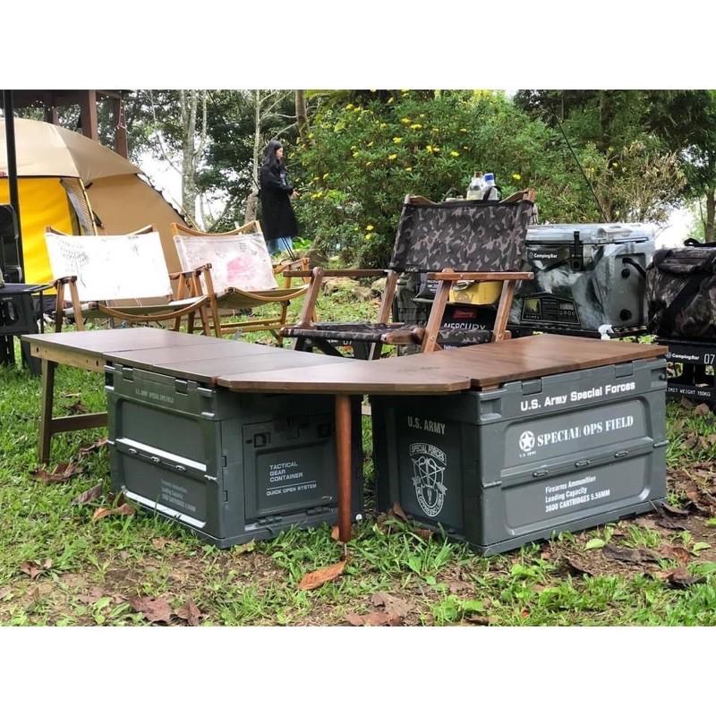 【中大戶外】Campingbar 折疊箱 日本🇯🇵夯物 軍風 折疊側開收納箱 居家收納 側開收納箱 折疊收納箱 露營
