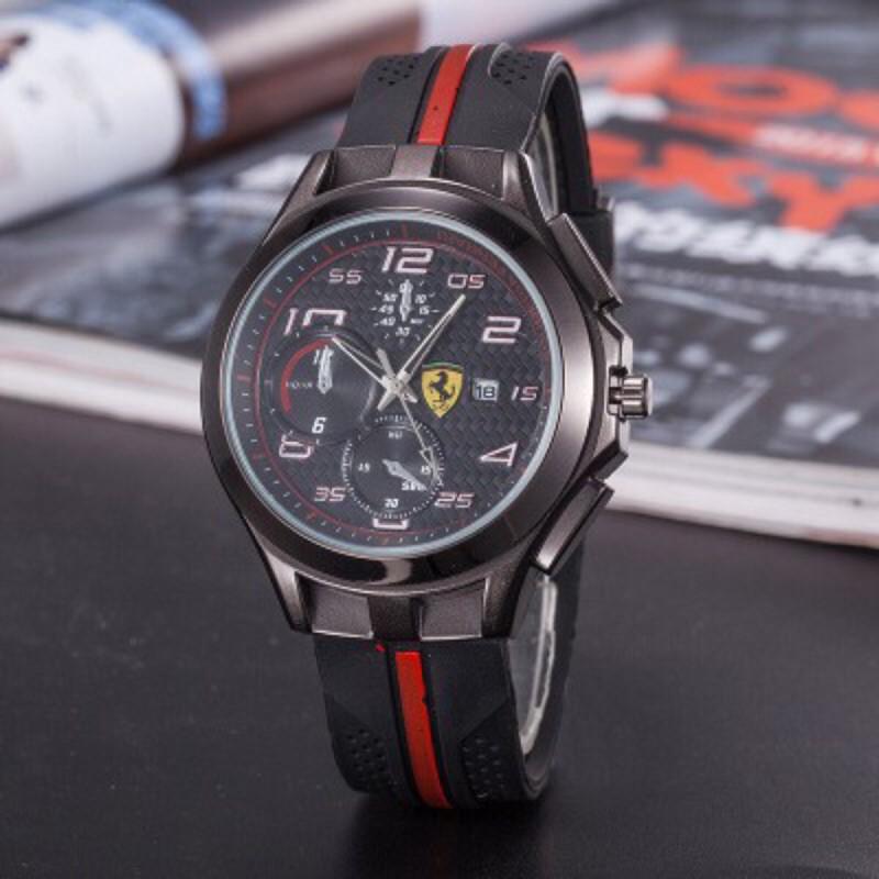 【現貨】熱賣新款Ferrari法拉利汽車GT矽膠皮帶手錶大奔手錶 男士韓版時尚商務休閒皮帶琳琳的優選