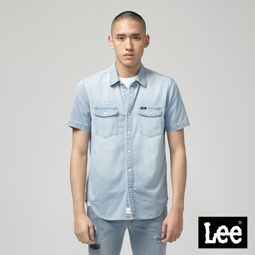 Lee 短袖牛仔襯衫 男 淺藍 Jade Fusion 涼感 101+
