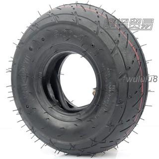 👅🎀迷你摩托車配件 小四輪小沙灘車滑板車輪胎3.00-4內外胎彎嘴內胎