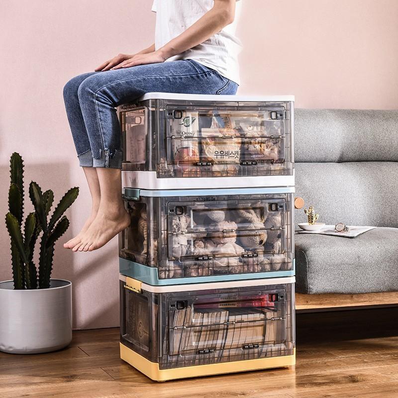 現貨_❣┅折疊收納箱 下掀式側開貨櫃箱 大號  帶蓋 手提 帶滑輪 塑料 臥室客廳車載儲物盒 透明整理箱 前蓋可開