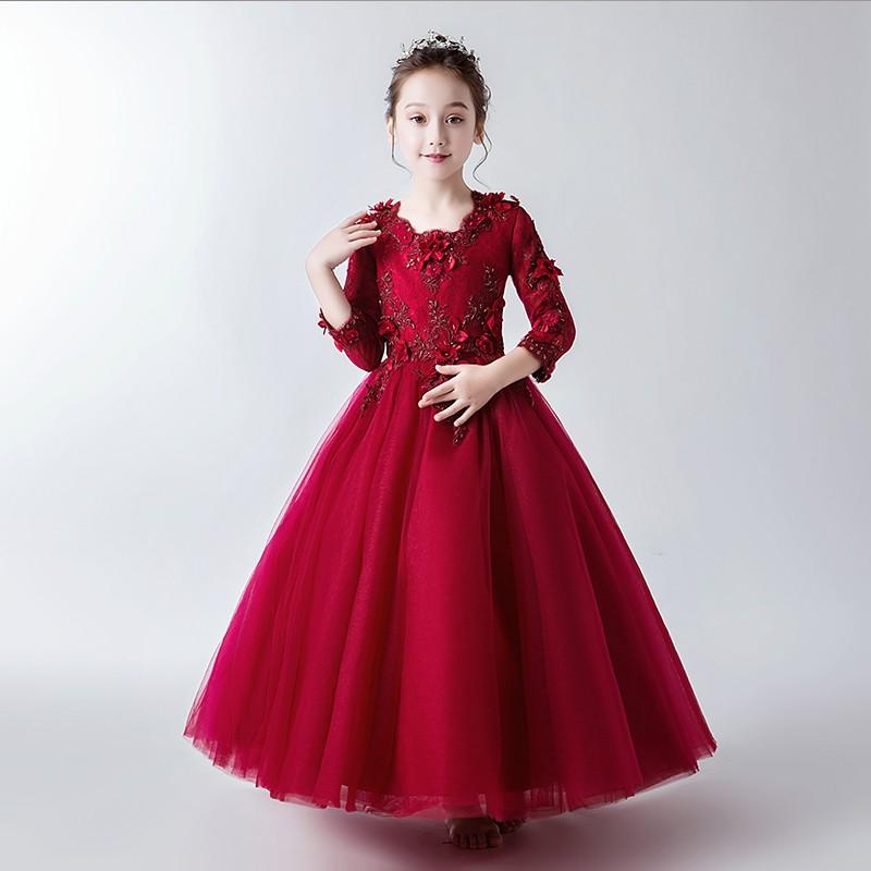 衣佳女童長袖紅色禮服公主裙花童蓬蓬紗兒童小主持人鋼琴演出服婚紗冬
