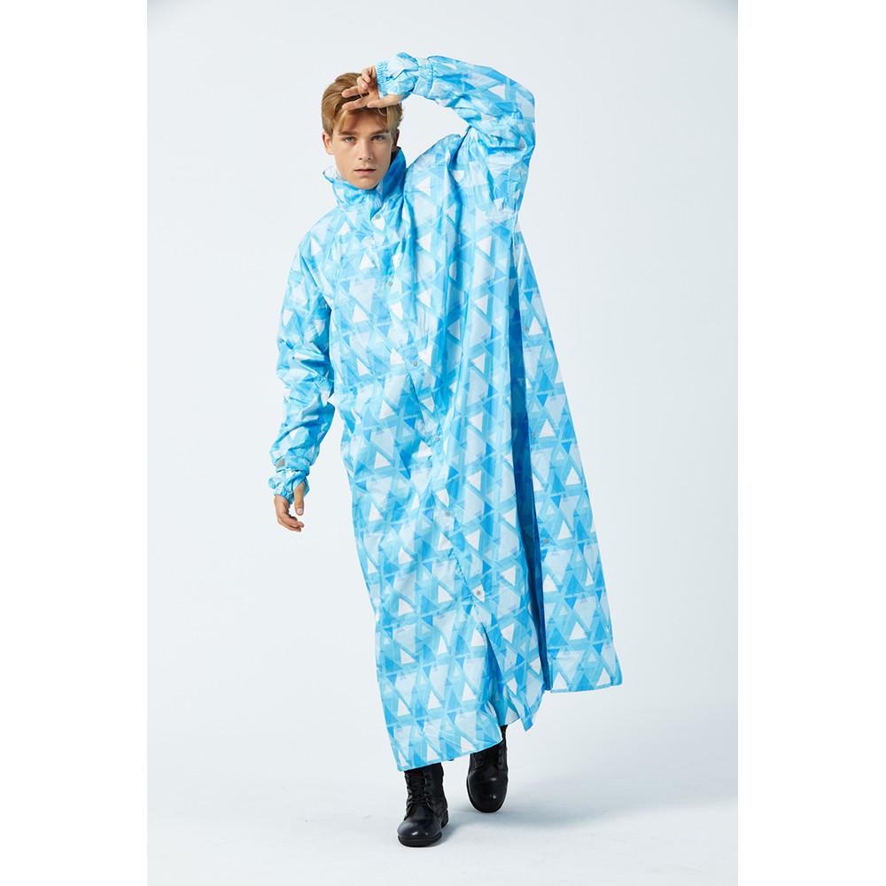 東伸 DongShen 19-3 戀戀三角 大衣式雨衣 藍白 一件式雨衣 加長袖口 側邊加寬 加大 圖案 口罩設計