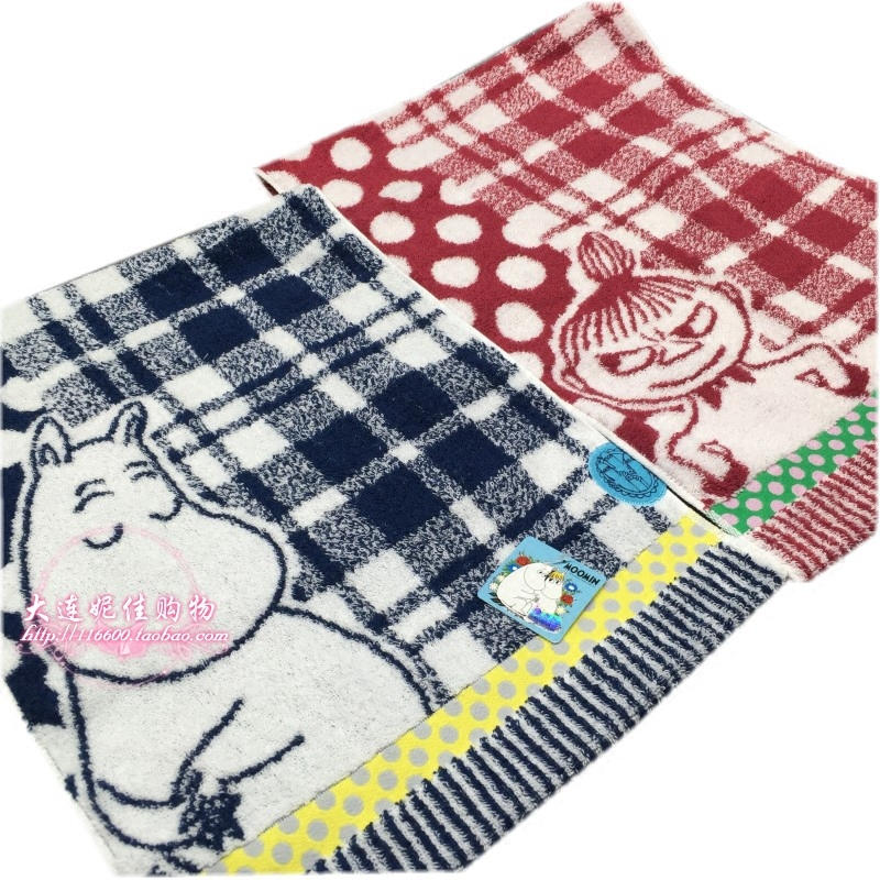 專櫃品日本情侶格子卡通純棉毛圈掛巾大方巾毛巾面巾大浴巾