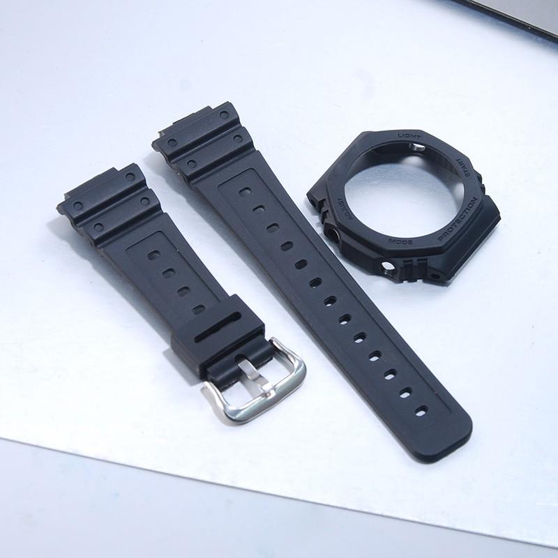 適配卡西歐農家橡樹ga2100 2110改裝黑色樹脂錶殼錶帶錶帶配件