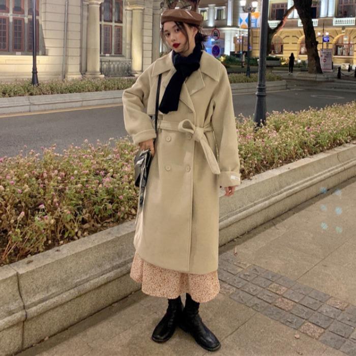 秋冬裝毛呢外套女2020新款韓版時尚氣質西裝領雙排扣加厚呢子大衣