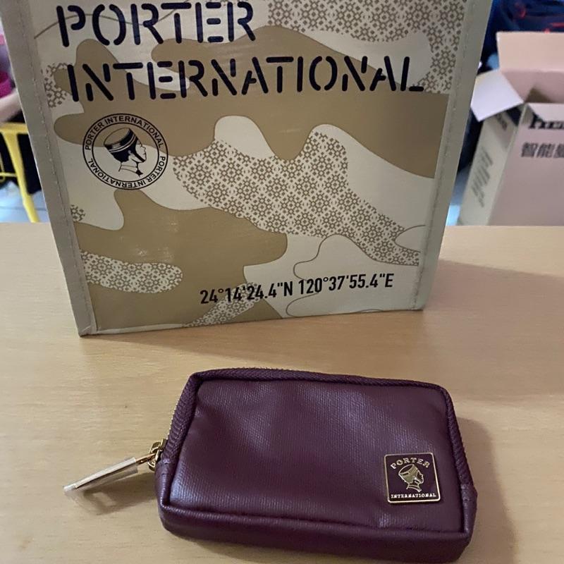 PORTER酒紅色零錢包
