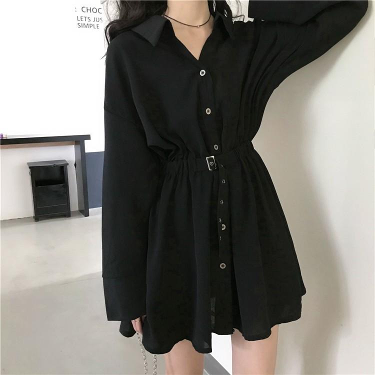 襯衫洋裝 顯瘦洋裝 氣質洋裝  秋裝新款輕熟赫本風設計感小黑裙子收腰顯瘦氣質長袖女