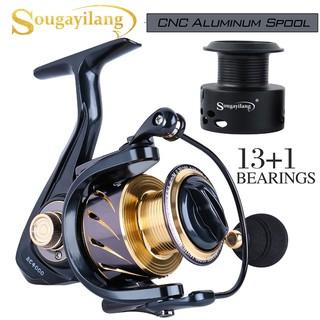 Sougayilang 紡車輪 捲線器1000-5000 鋁線杯漁線輪13+1BB 輕質超光滑鋁漁線輪 免費備用石墨線杯