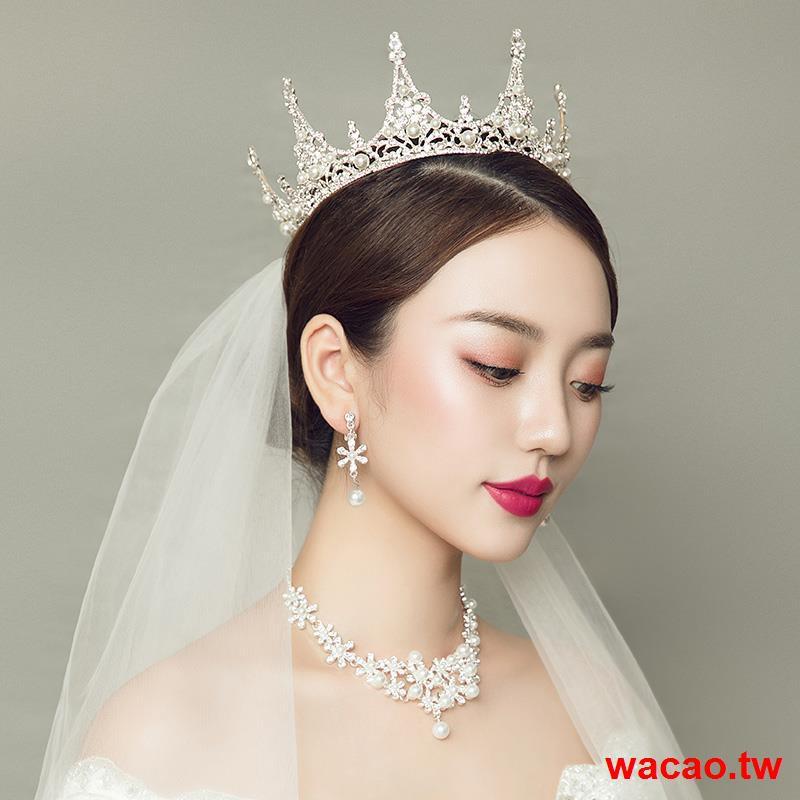 ◙超爆 2020新款新娘頭飾頭紗婚紗配飾結婚大氣奢華皇冠女項鏈三件套套裝
