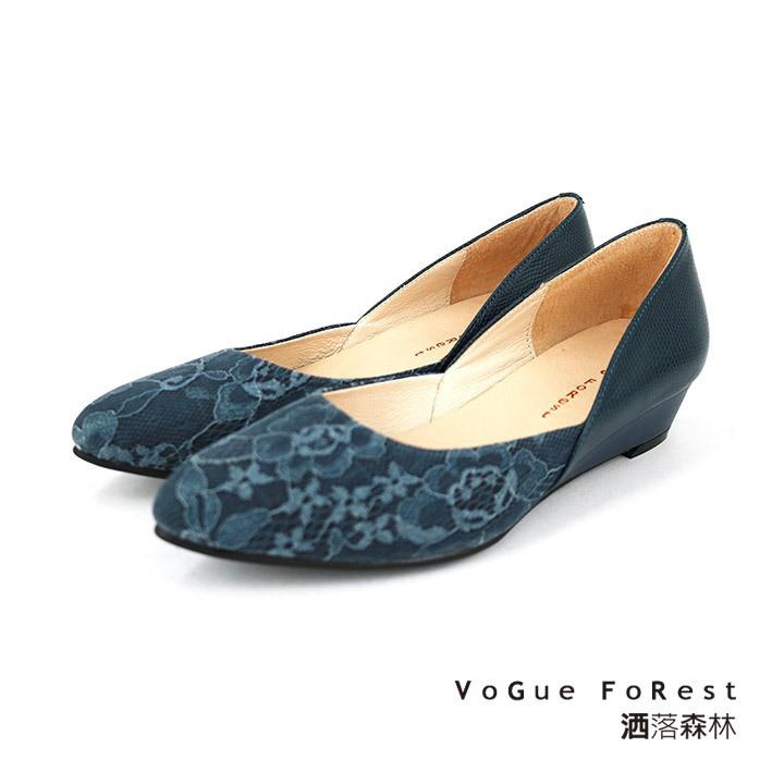 【VoGue FoRest】MIT / 異材質拼接優雅增高平底鞋-270PW110850 藍色-原價2580元