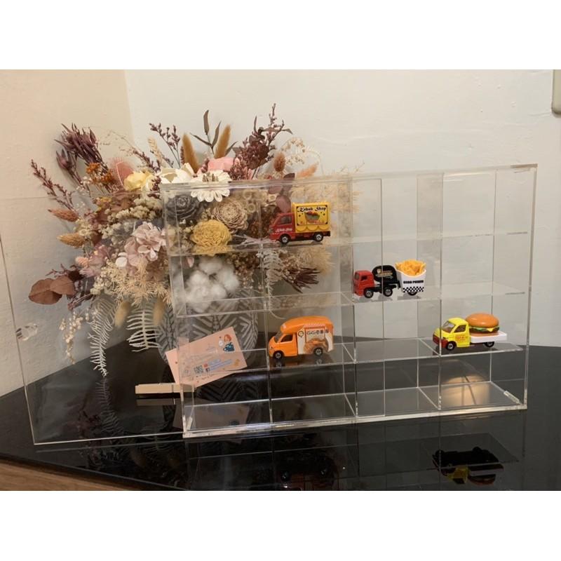 「現貨」壓克力拉門展示盒 公仔盒 16格 9格 適用TOMICA火柴盒小汽車 多美小車 扭蛋 盒玩