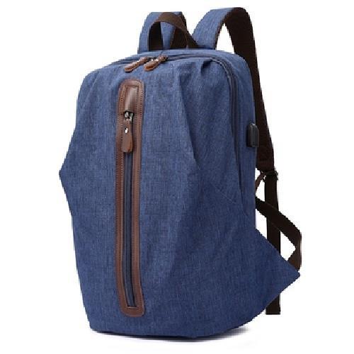 多功能防潑水USB雙肩後背包(藍-30X18X44cm)[大買家]
