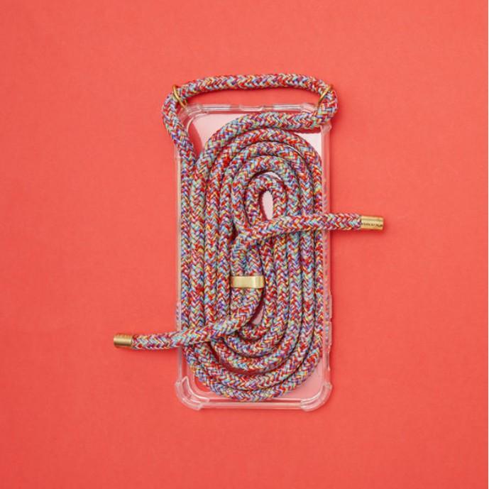 Arno 編繩背帶透明iPhone手機殼_彩虹紅色