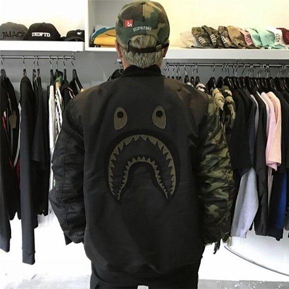 bape 外套 猿人 長袖外套 長袖上衣 日系原宿 餘文樂 刺繡鯊魚棒球服 迷彩男女士情侶款夾克衫 ma1外套潮