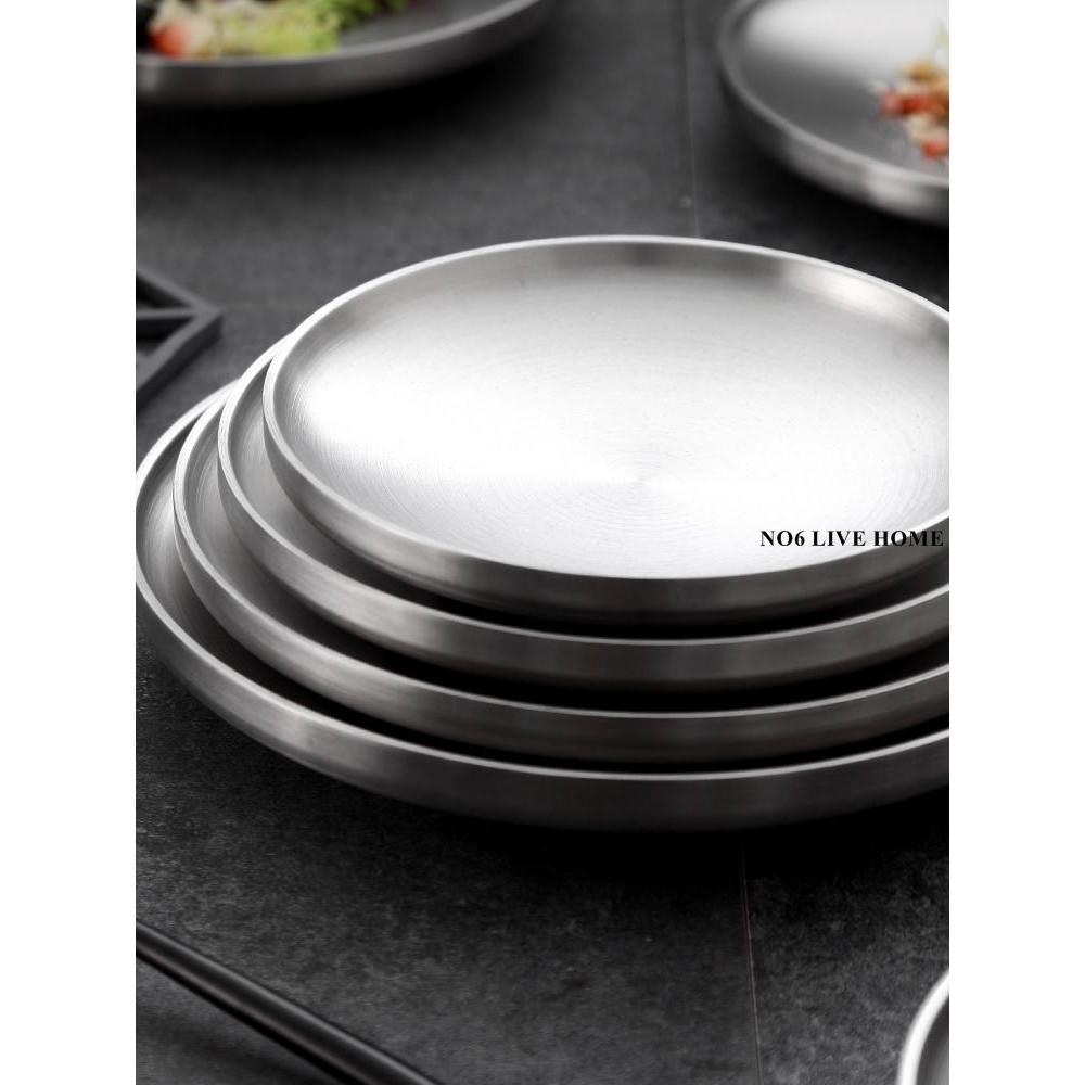 NO6 家用盤子8個套裝304不銹鋼雙層隔熱餐盤圓盤平盤碟子