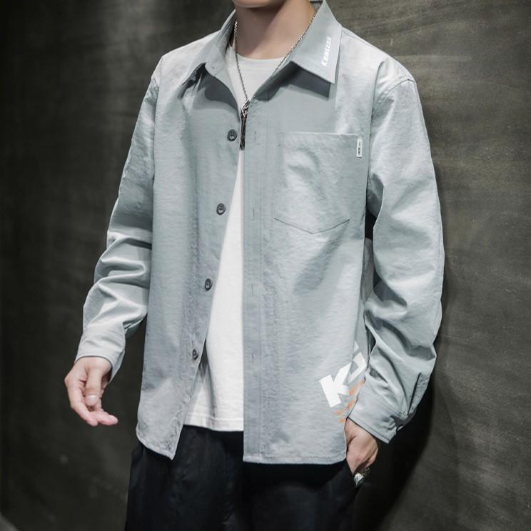 男長袖襯衫韩版潮流帥氣襯衫休閒上衣秋裝外套襯衫【FIZZE】