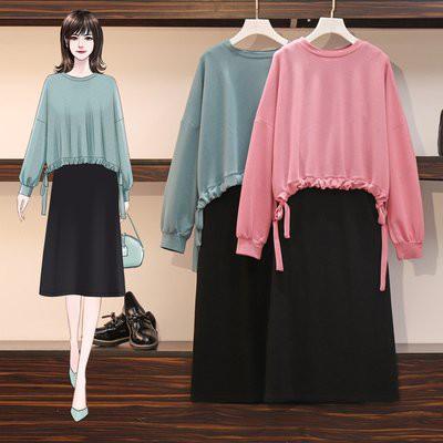 套裝裙 上衣 內搭裙 中大尺碼 XL-5XL新款胖MM顯瘦超薄針織衫+純棉背心裙兩件套R007-7121.胖胖美依