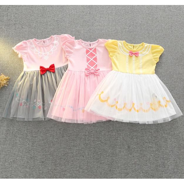 女童迪士尼公主短袖洋裝 女童連身裙 小童連衣裙 小童洋裝【蘋果小舖】(SG)2007 A6
