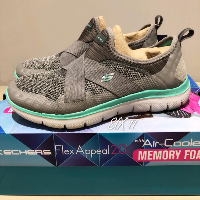 @SIX@SKECHERS FLEX APPEAL 2.0 灰 湖水綠 健走鞋/休閒鞋 記憶鞋墊 女款