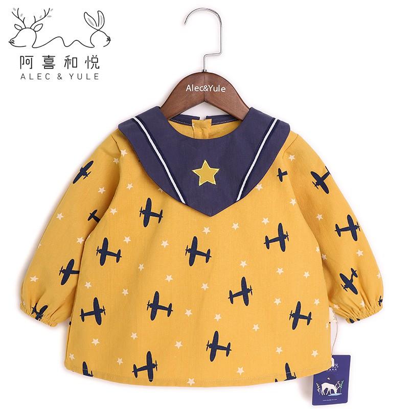 ❐❇阿喜和悅寶寶罩衣長袖防水兒童吃飯圍兜衣嬰兒純棉防臟反穿衣秋冬